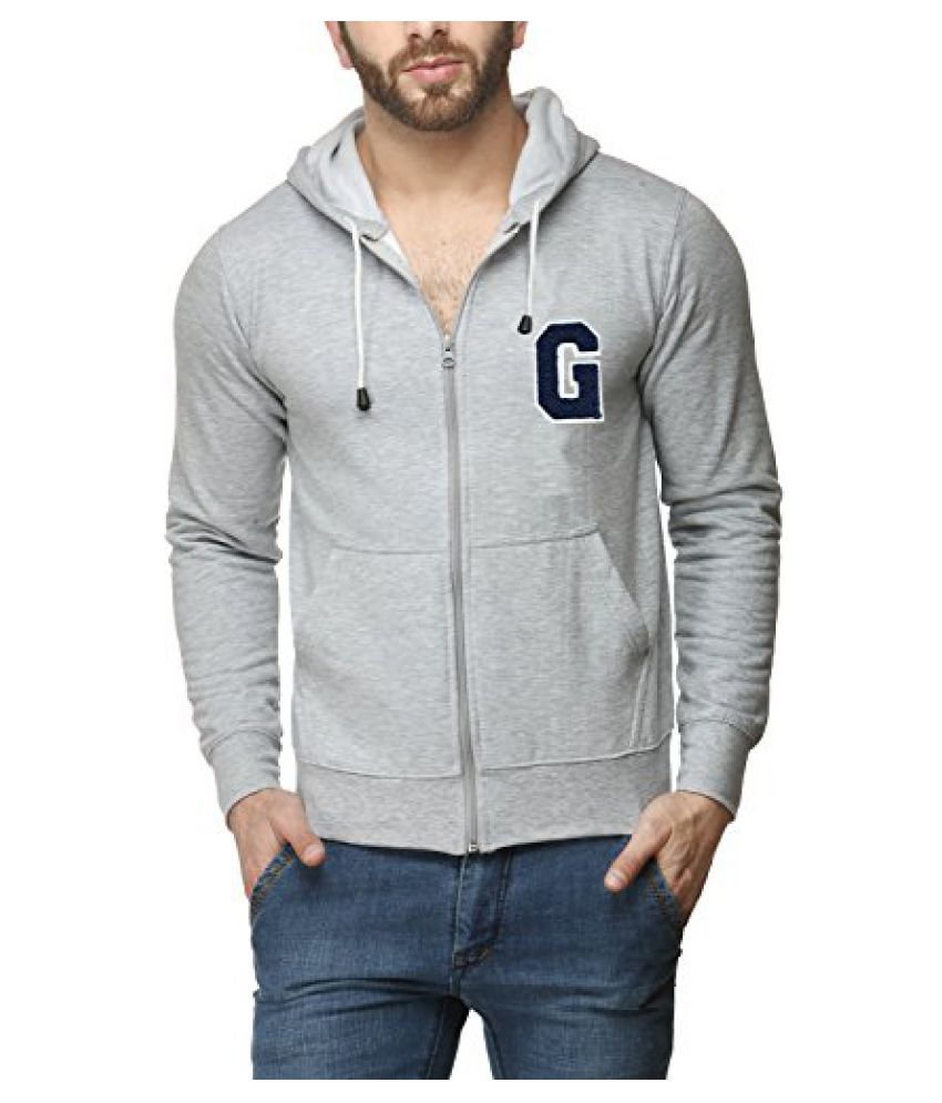Scott Mens Premium Cotton Flocking Letter Pullover Hoodie Sweatshirt WITH Zip - Grey - GESSHZ10_XL