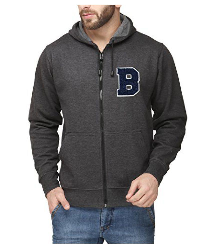 Scott Mens Premium Cotton Flocking Letter Pullover Hoodie Sweatshirt WITH Zip - Charcoal - BESSHZ1_XXL