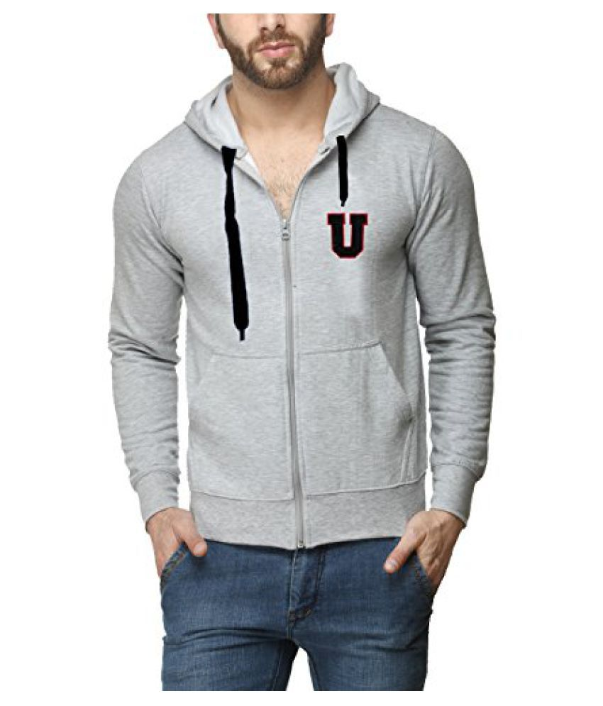 Scott Mens Premium Cotton Flocking Letter Pullover Hoodie Sweatshirt WITH Zip - Grey