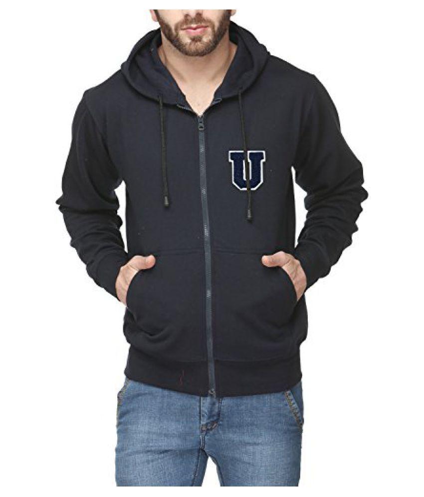 Scott Mens Premium Cotton Flocking Letter Pullover Hoodie Sweatshirt WITH Zip - Navy Blue