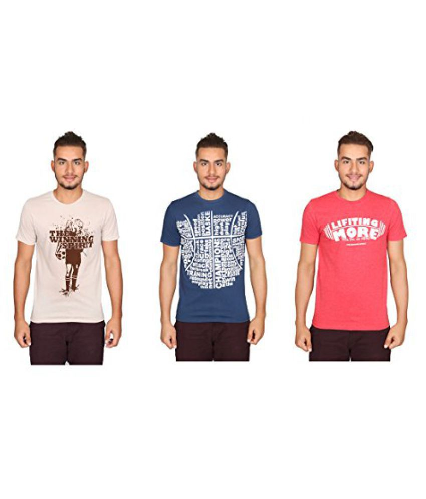 Vector X Pack of 3 VTC-001-ABD Half Sleeves Cotton round neck T shirts (Beige-Blue-Red)