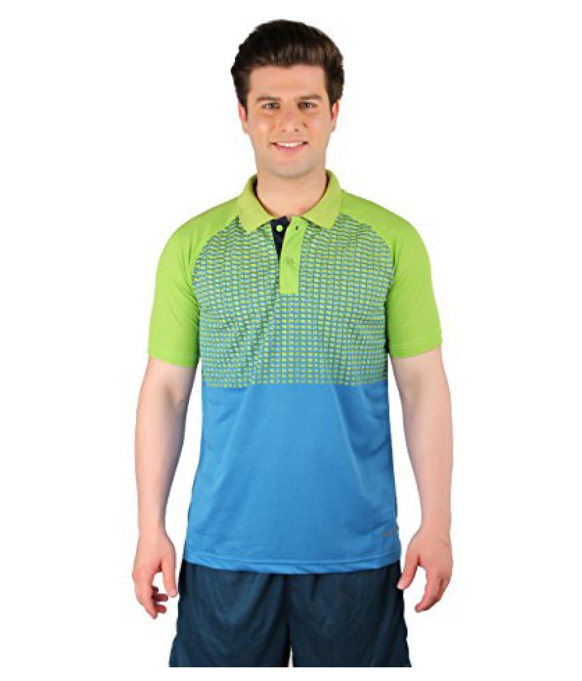 Vector X Printed Men's Polo Neck Badminton/Tennis Sublimation VTD-067-A T-Shirt (Green-Blue)