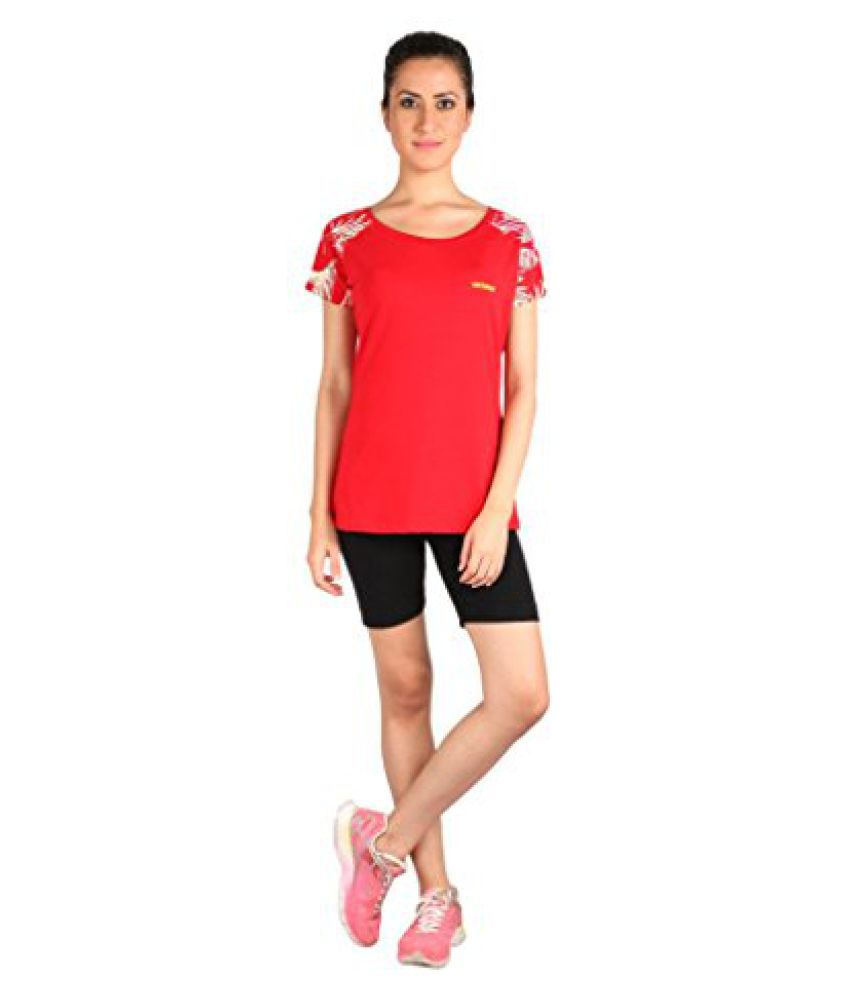Vector X VTDF- 007 Printed sleeves Round Neck Womens T-Shirt, XXL (Red)