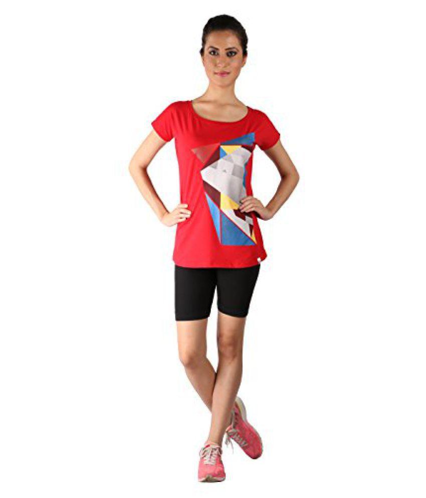 Vector X VTDF 040 B Printed Blend Round Neck T-Shirt, Womens (Red)