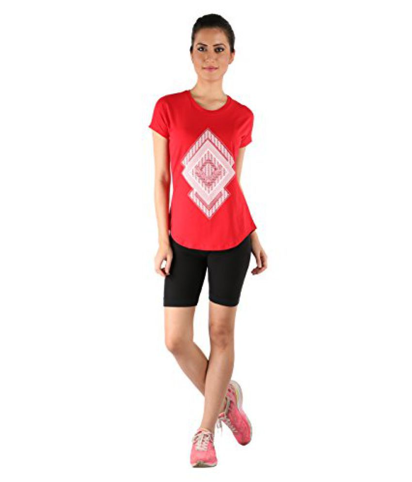 Vector X VTDF 109 B Printed Blend Round Neck T-Shirt, Women's (Red)