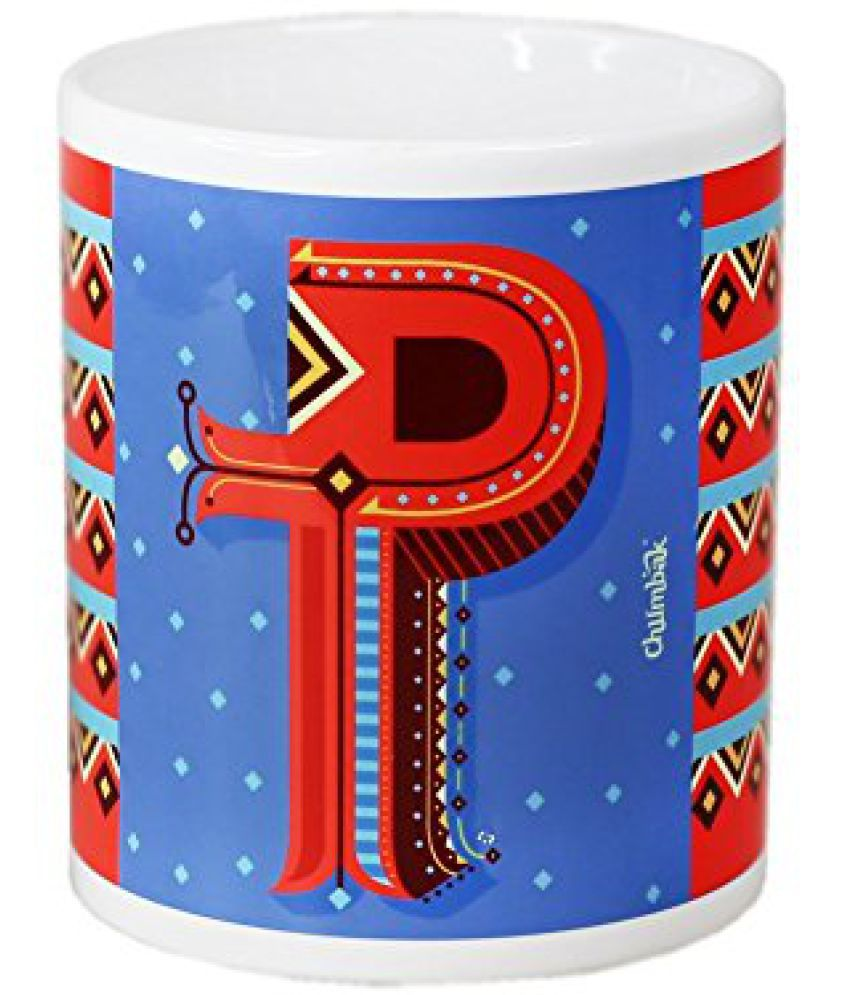 Chumbak Alphabet P Coffee Mug, 300ml