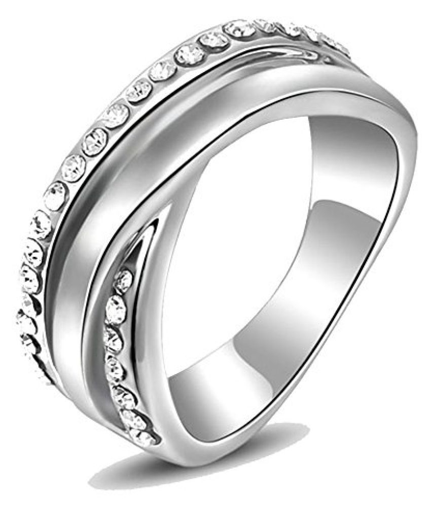 Kaizer Double Charismatic 18k White Gold Plated Ring for Women