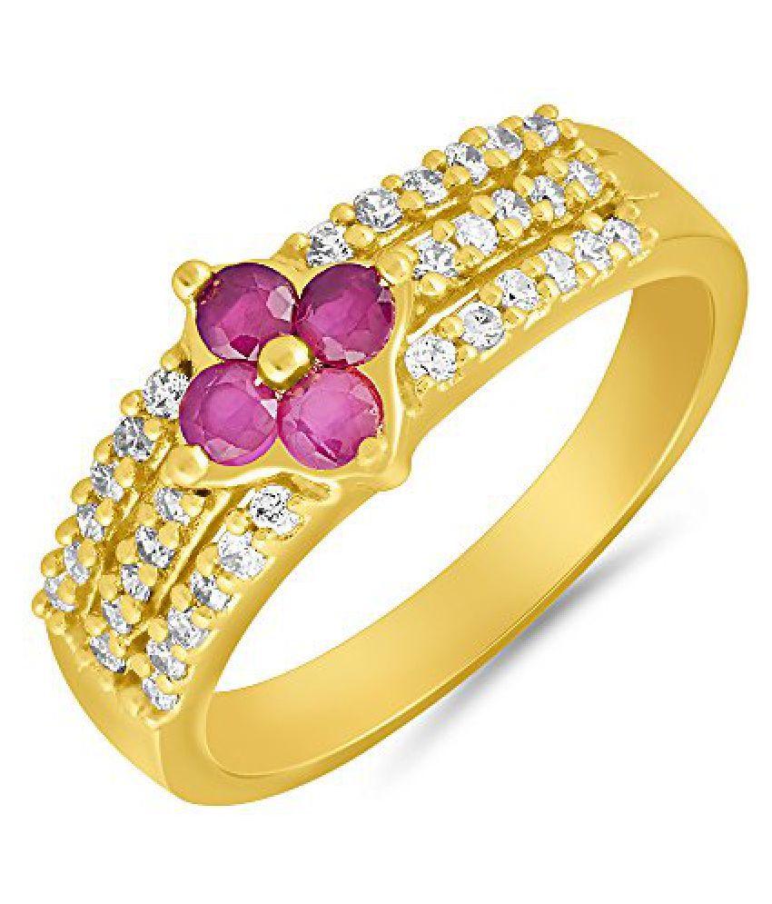 Mahi Gold plated Creative Melange Finger Ring with Ruby for Women FR1100646G