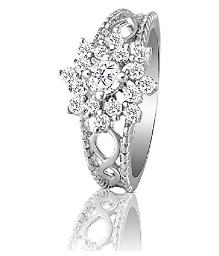 Mahi with Swarovski Zirconia Sterling Silver Floral Queen Annes Lace Finger Ring for Women FR3101005S