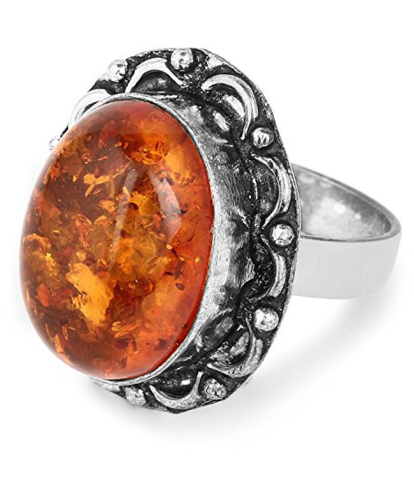 Oxidized Fashion Statement Designer Orange Amber Studded Ring for women