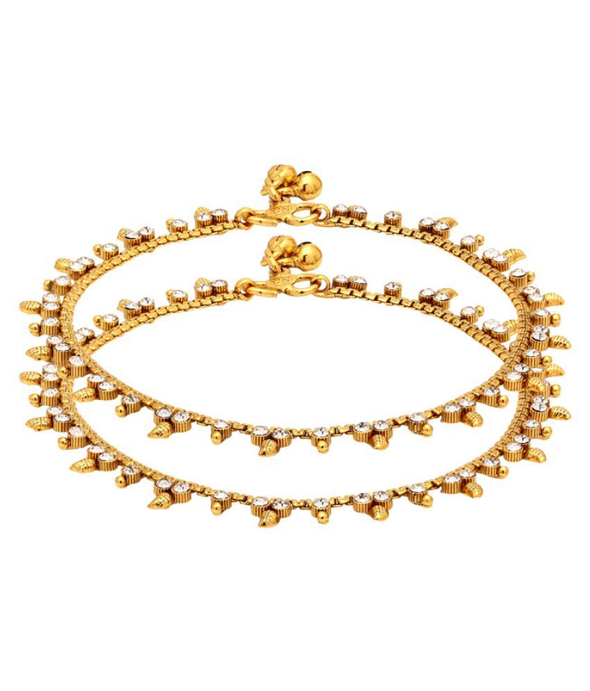 Voylla Gold Plated Anklets Studded with White Gems