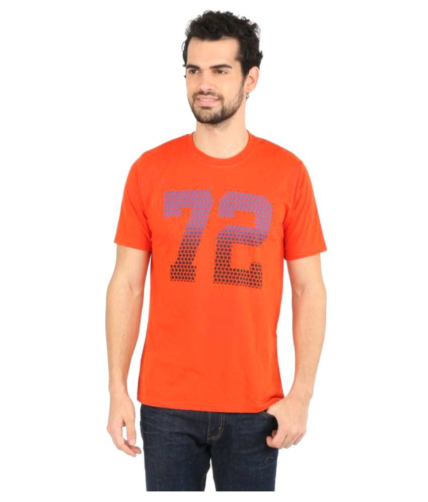 Vector X Printed Men's Round Neck Orange T-Shirt
