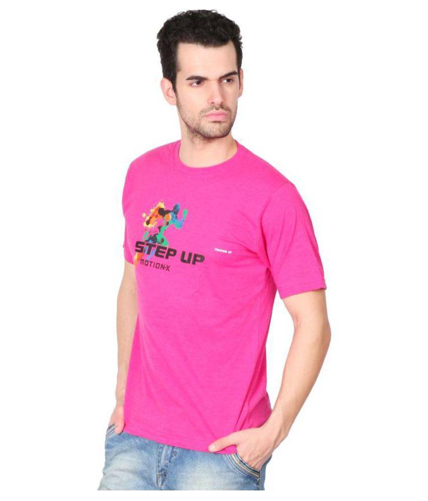 Vector X Solid Men's Round Neck Pink T-Shirt