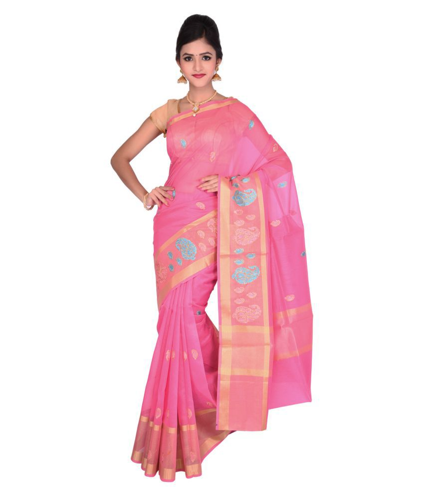 Vallalar Silks Pink Art Silk Saree