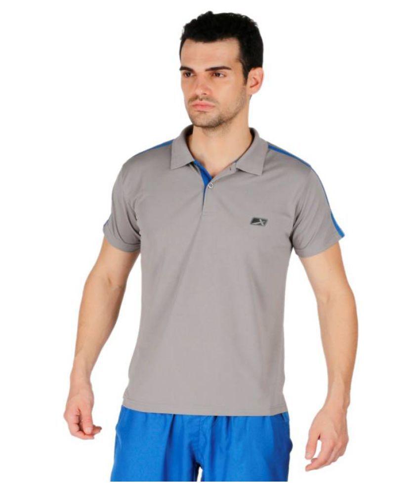 Vector X Solid Men #039;s Polo Neck Grey T Shirt