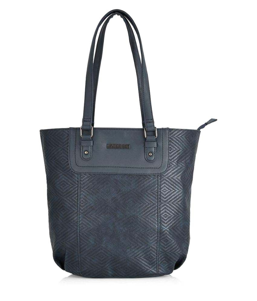 Caprese Black Faux Leather Tote Bag
