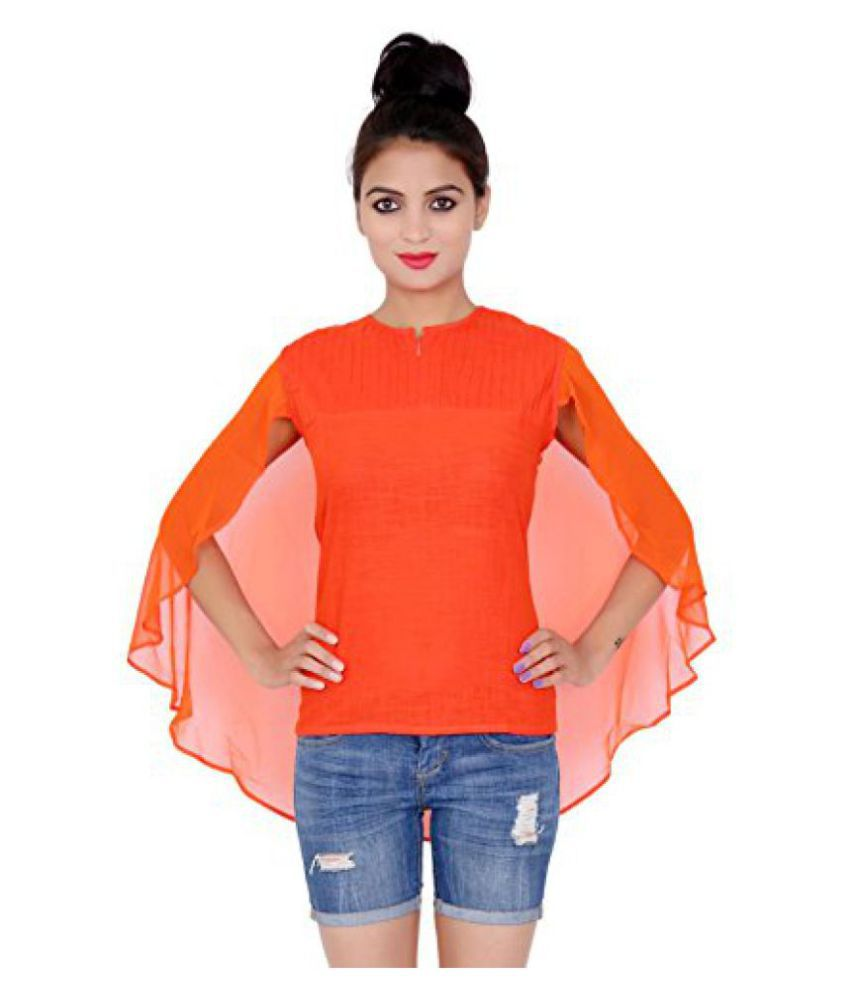 a2d4bbb532e1 Sir N Maam- Solid Orange Color Flared Cap Style Top With Round Neck ...