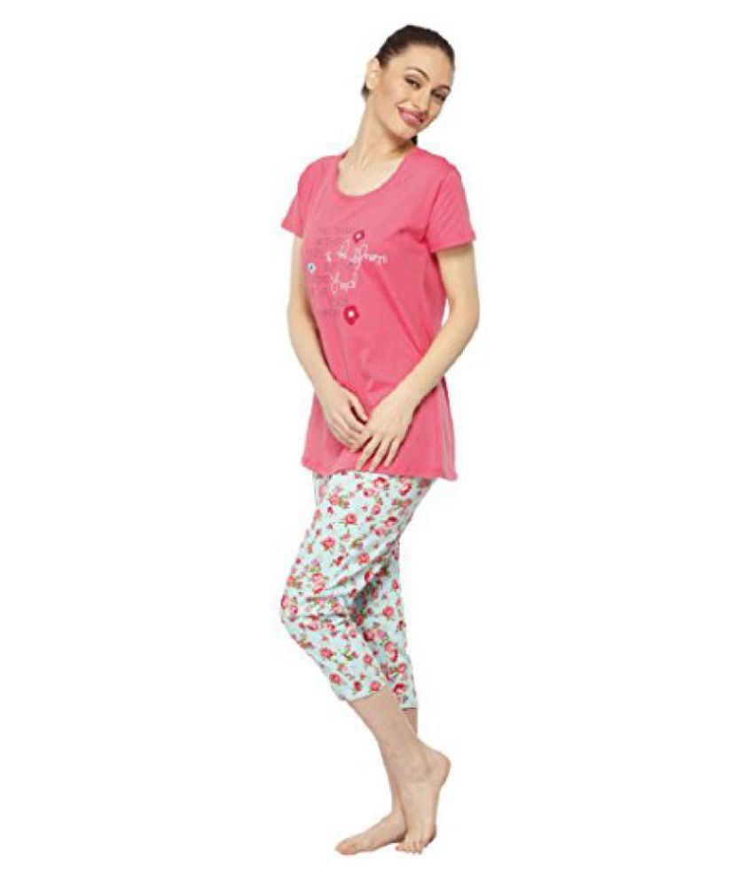 b22d28b20b Vixenwrap Punch Pink   Mint Green Floral Print Top   Capri Set - Buy ...