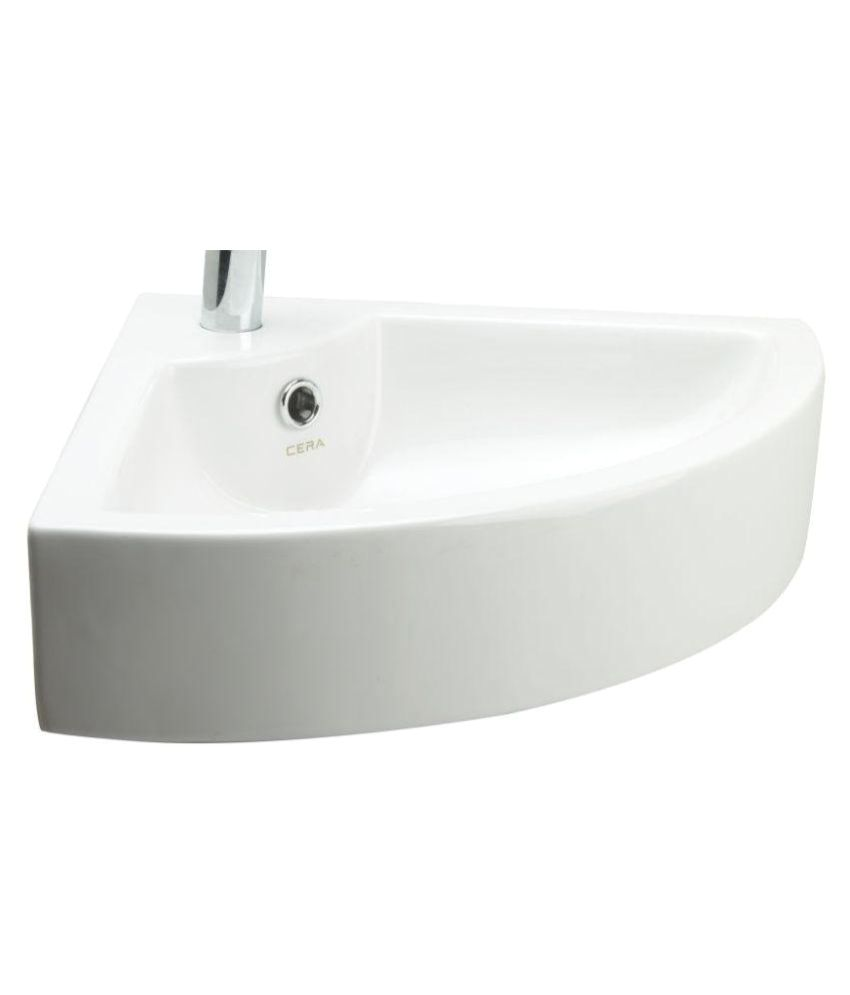 Cera White Ceramic Corner Wash Basin