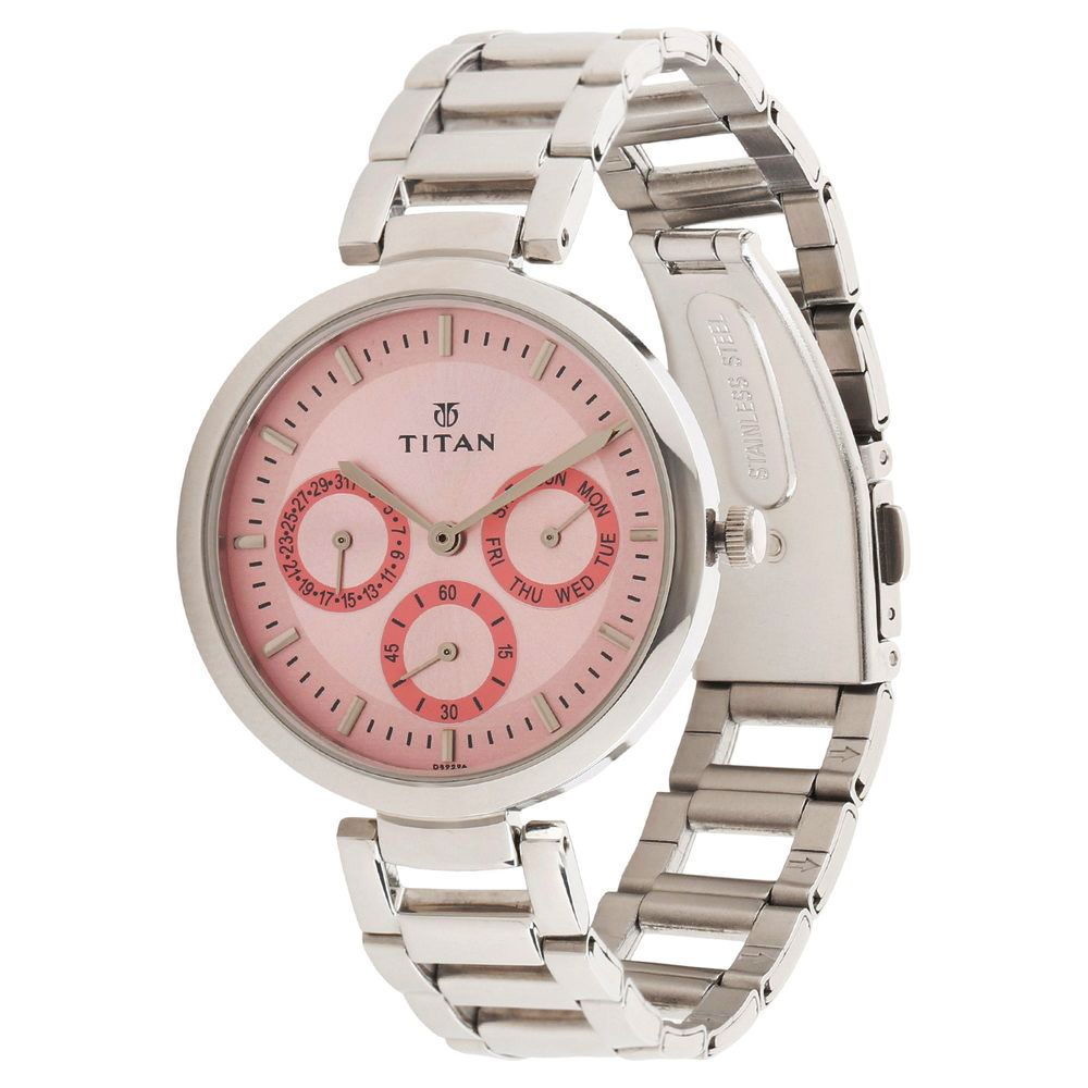 titan tagged 2480sm05 analog chronograph womens watch