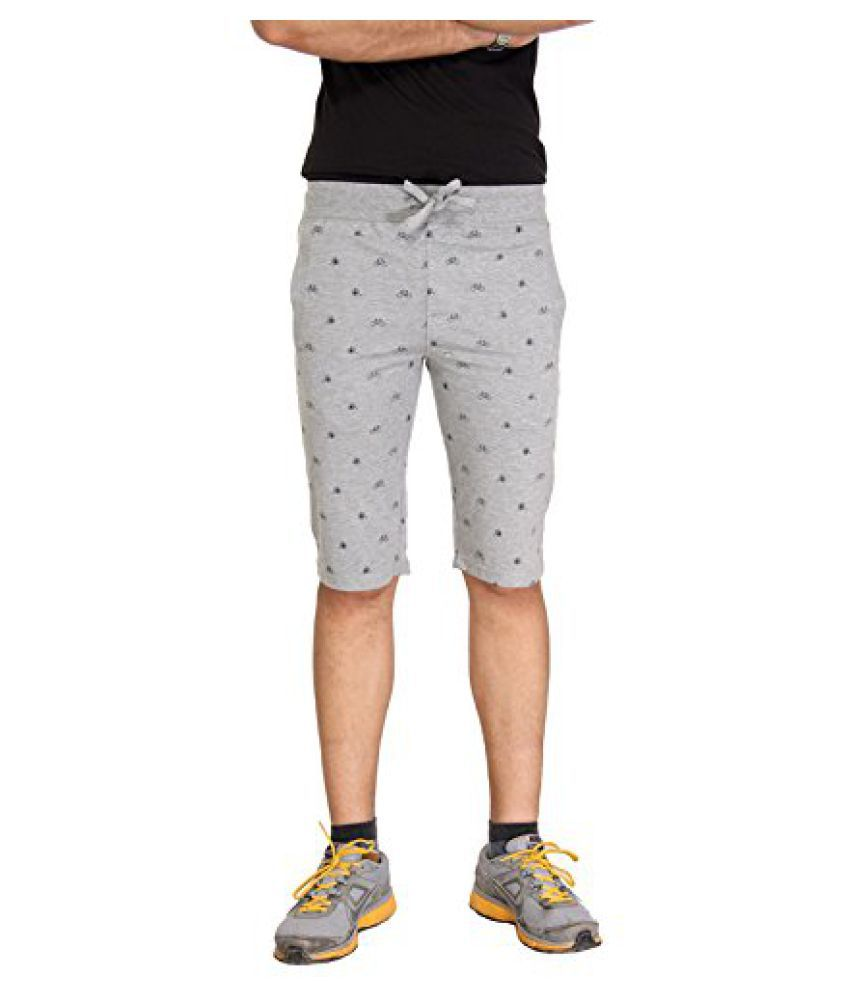 Bongio Mens Printed Cotton Knitted Shorts (Small)