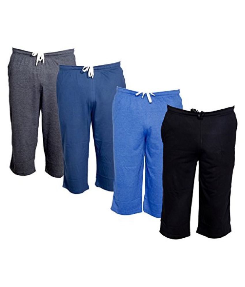 IndiWeaves Men's Regular Fit Casual Capri (Pack of-4)_Grey::Blue::Blue::Black _Size-32