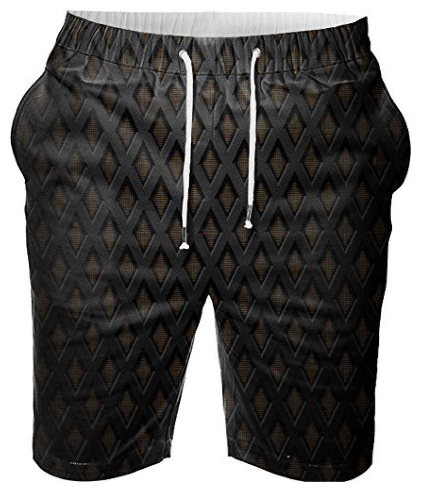 SnooggDigital Printed Mens Casual Beach Jogger Shorts With Pockets Boxer Style