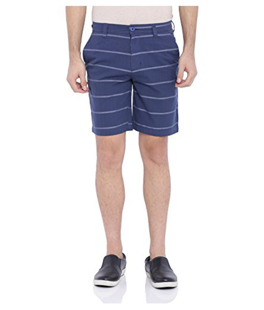 Blue Wave Navy Striped Casual Shorts for Men