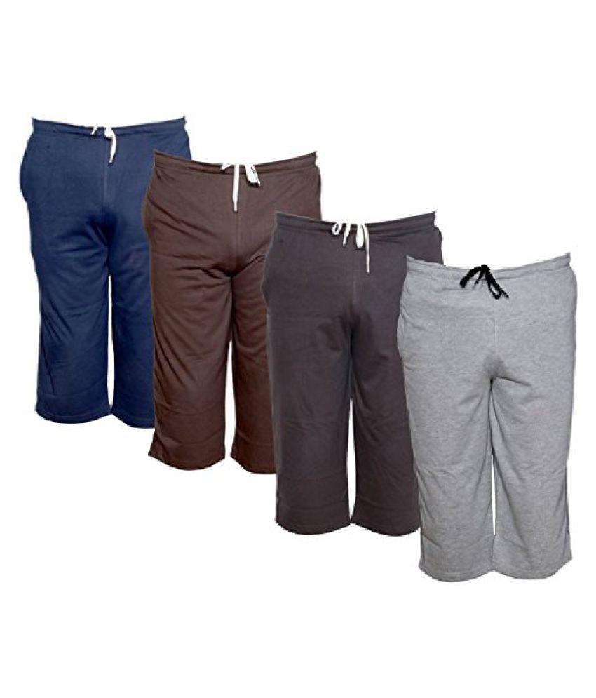 IndiWeaves Men's Regular Fit Casual Capri (Pack of-4)_Blue::Brown::Brown::Grey _Size-42