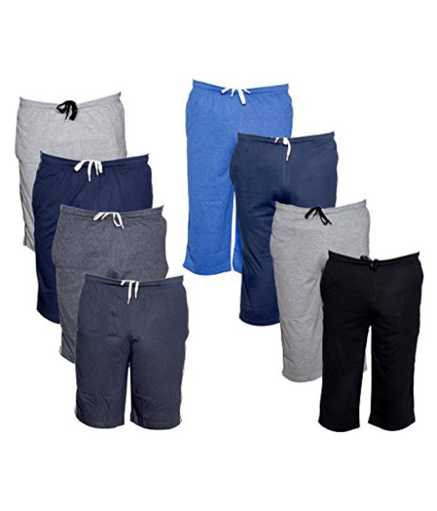 IndiWeaves Mens 1 Cotton 3/4 Capri and 1 Shorts/Barmuda Combo Offer (Pack of 2)