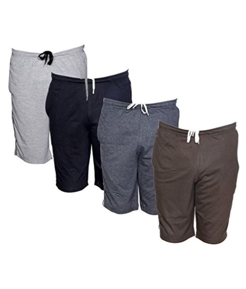 IndiWeaves Mens Regular Fit Casual Shorts (Pack of-4)