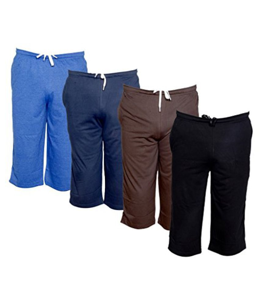 Indistar Men's Regular Fit Casual Capri (Pack of-4)_Blue::Blue::Brown::Black _Size-34