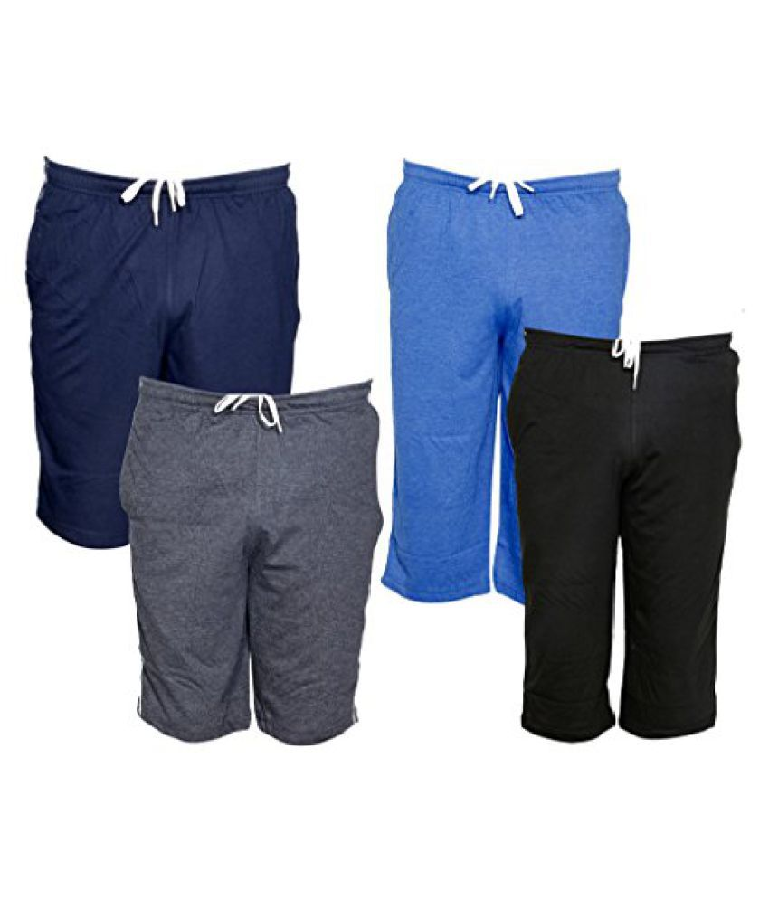 Indistar Mens 2 Cotton 3/4 Capri and 2 Shorts/Barmuda Combo Offer (Pack of 4)
