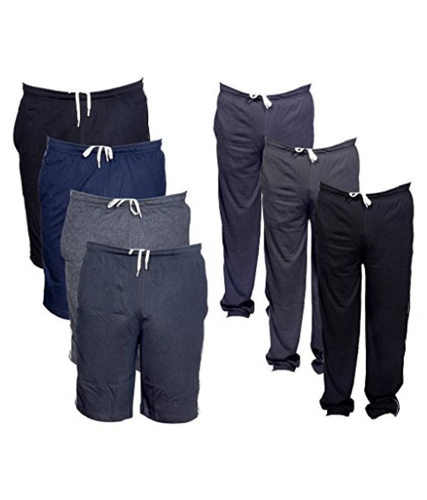 Indistar Mens Combo Pack(Pack of 4 3/4 Shorts/Bermuda and 3 Lower/Track pants)