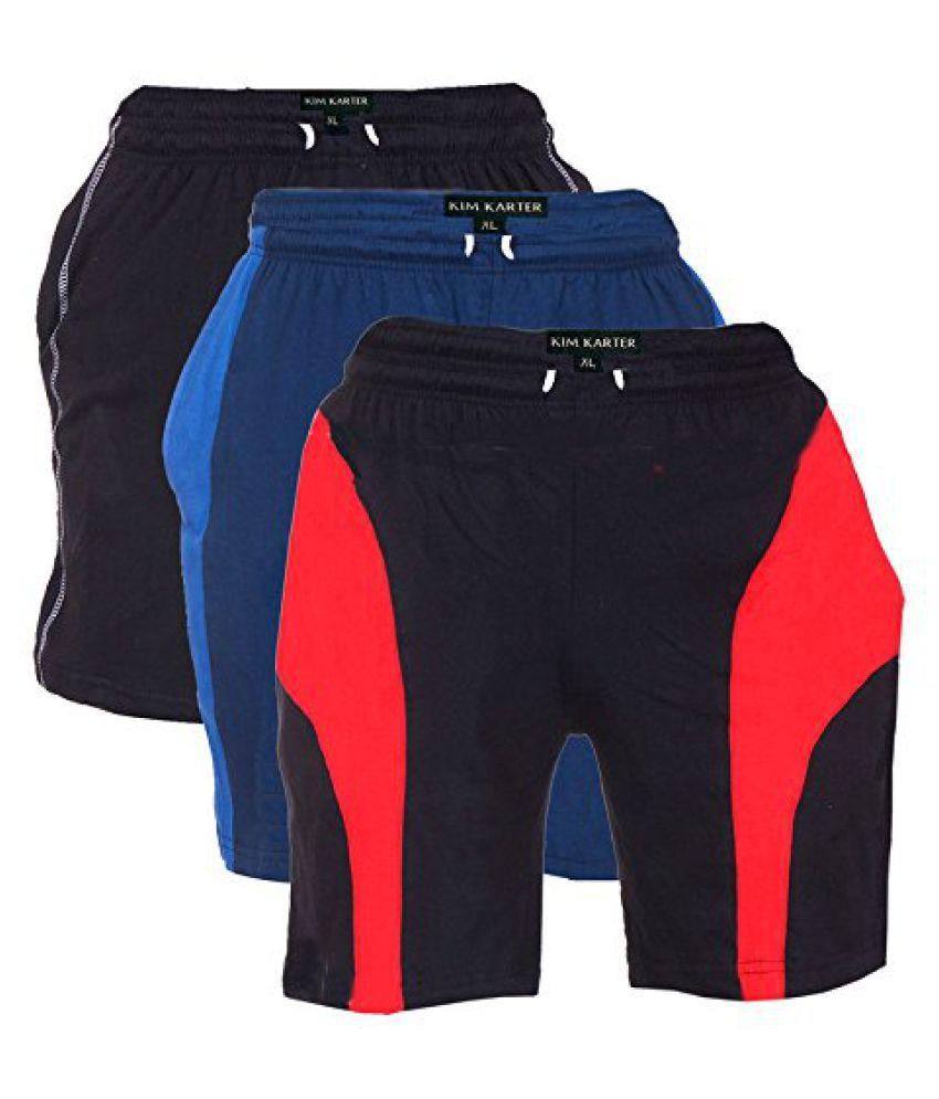 KimKarter Mens Cotton Shorts Pack of 3