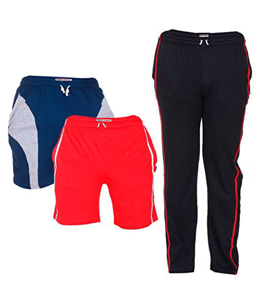 TeesTadka Combo Offers for Men In TrackPants and Shorts Combo Pack Of 3