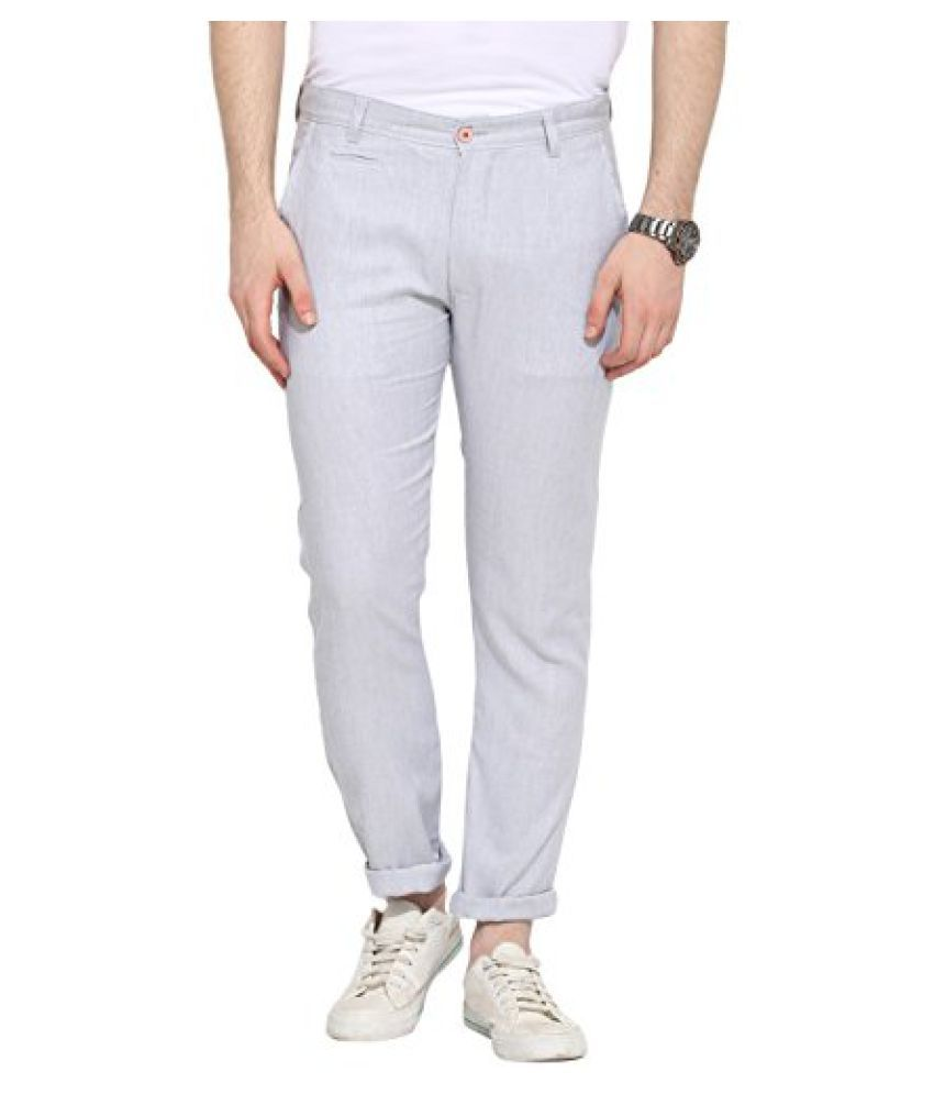 Grey Herringbone Lycra Cotton Chinos