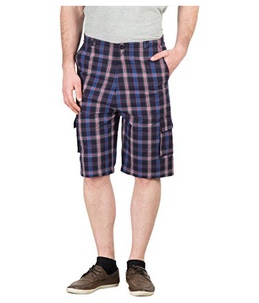 Hypernation Blue and Black Color Checkered Casual Three Fourth For Men