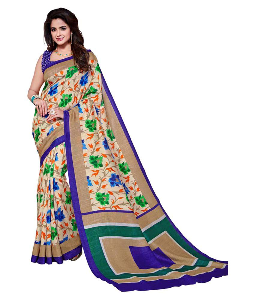 Anshika Lifestyle Multicoloured Cotton Blend Saree
