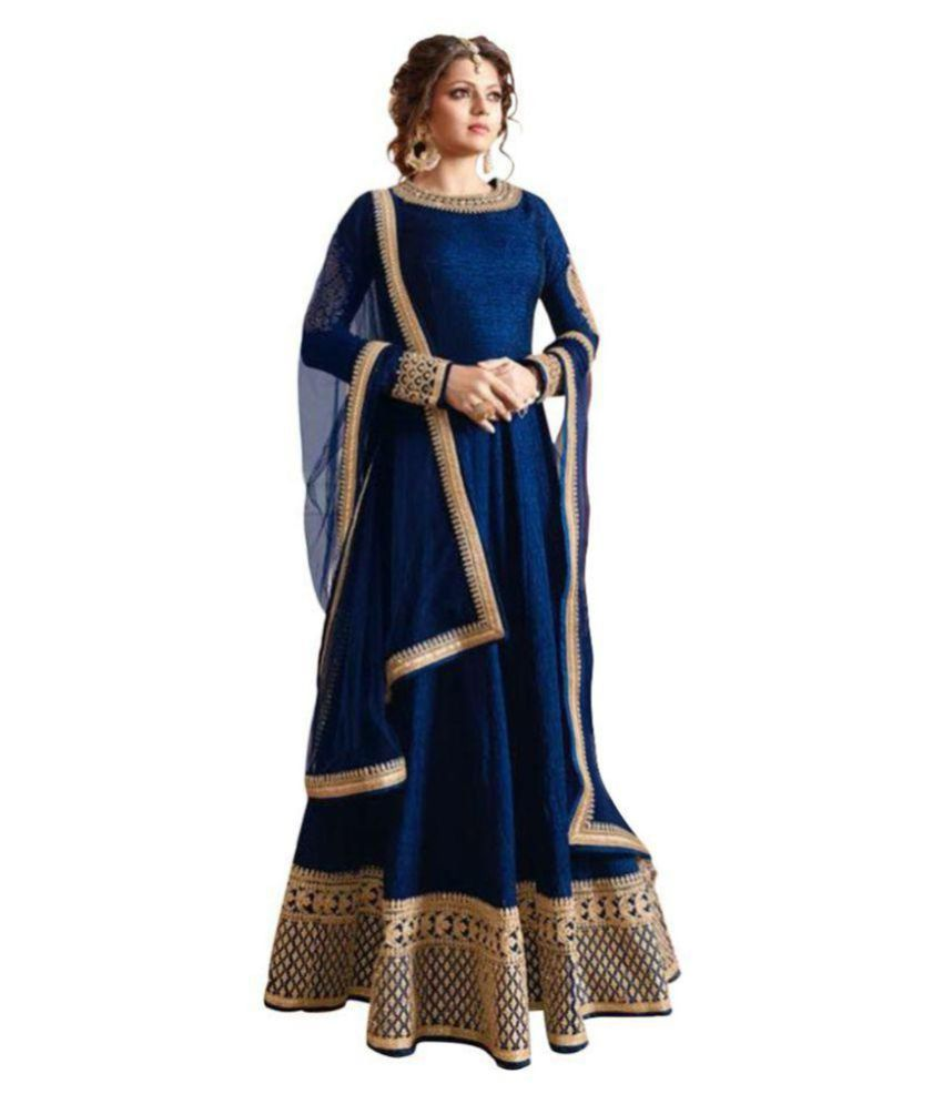 Gktrendz Blue Bangalore Silk Anarkali Gown Semi-Stitched Suit