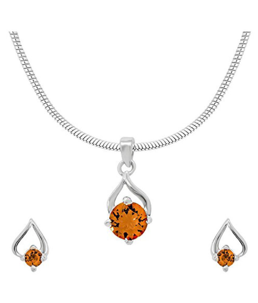 Mahi with Swarovski Elements Yellow Drop Paisely Rhodium Plated Pendant Set for Women NL1104138RYel