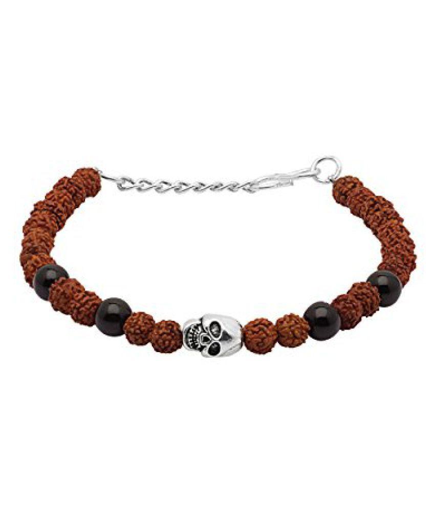 Voylla Skull Designer Rudraksh Beaded Bracelet
