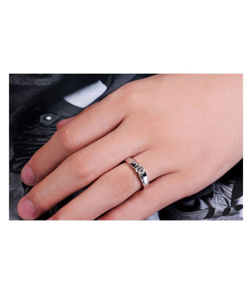Aaishwarya Vow of Love 18K Plated Zircon Silver Finish Couple Rings ...