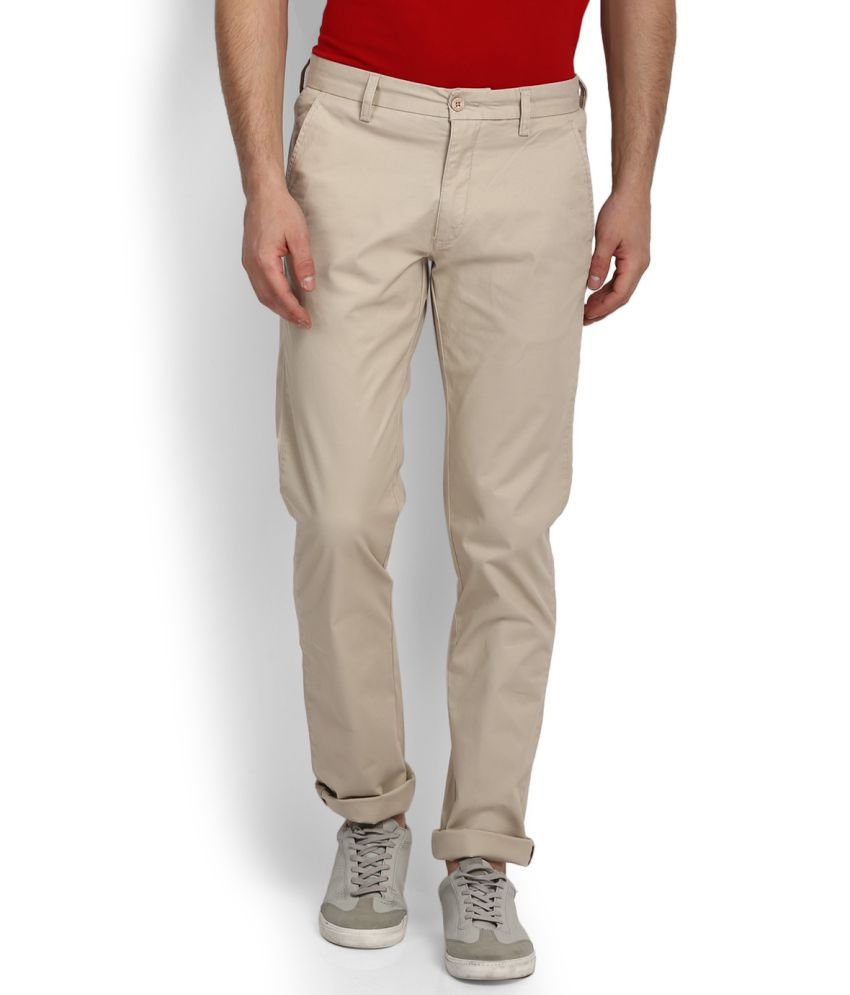 Izod Beige Slim Flat Trousers