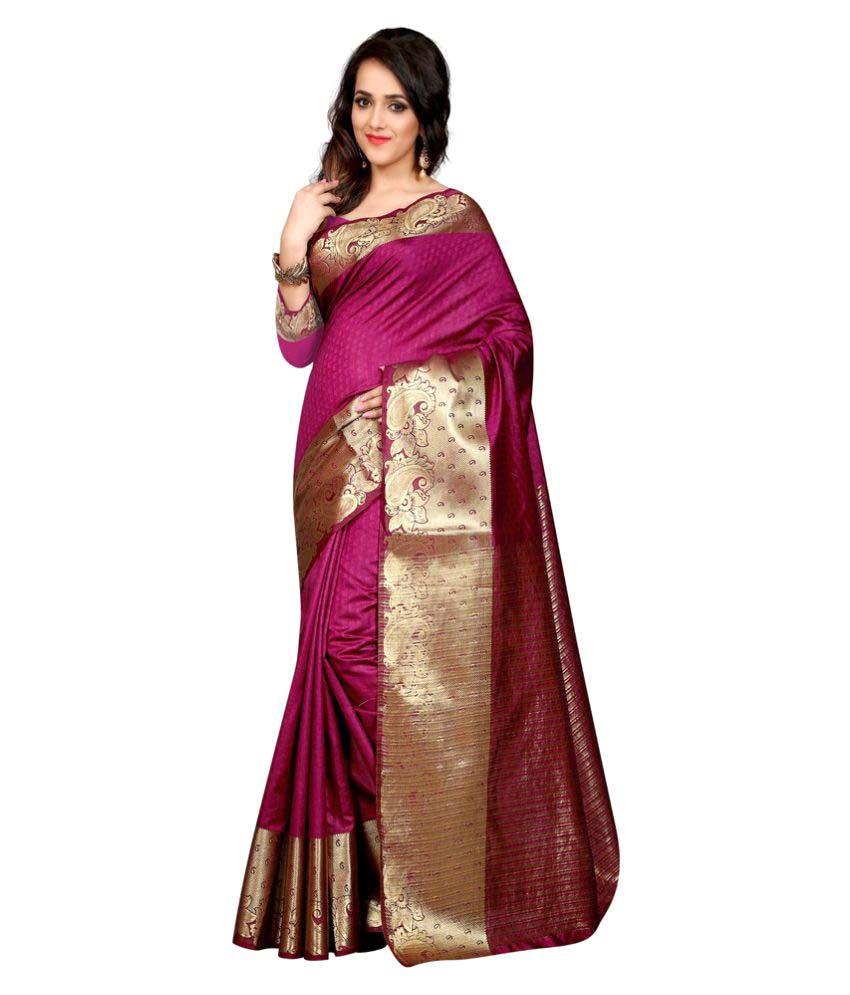 Lovit Fashion Purple Banarasi Silk Saree