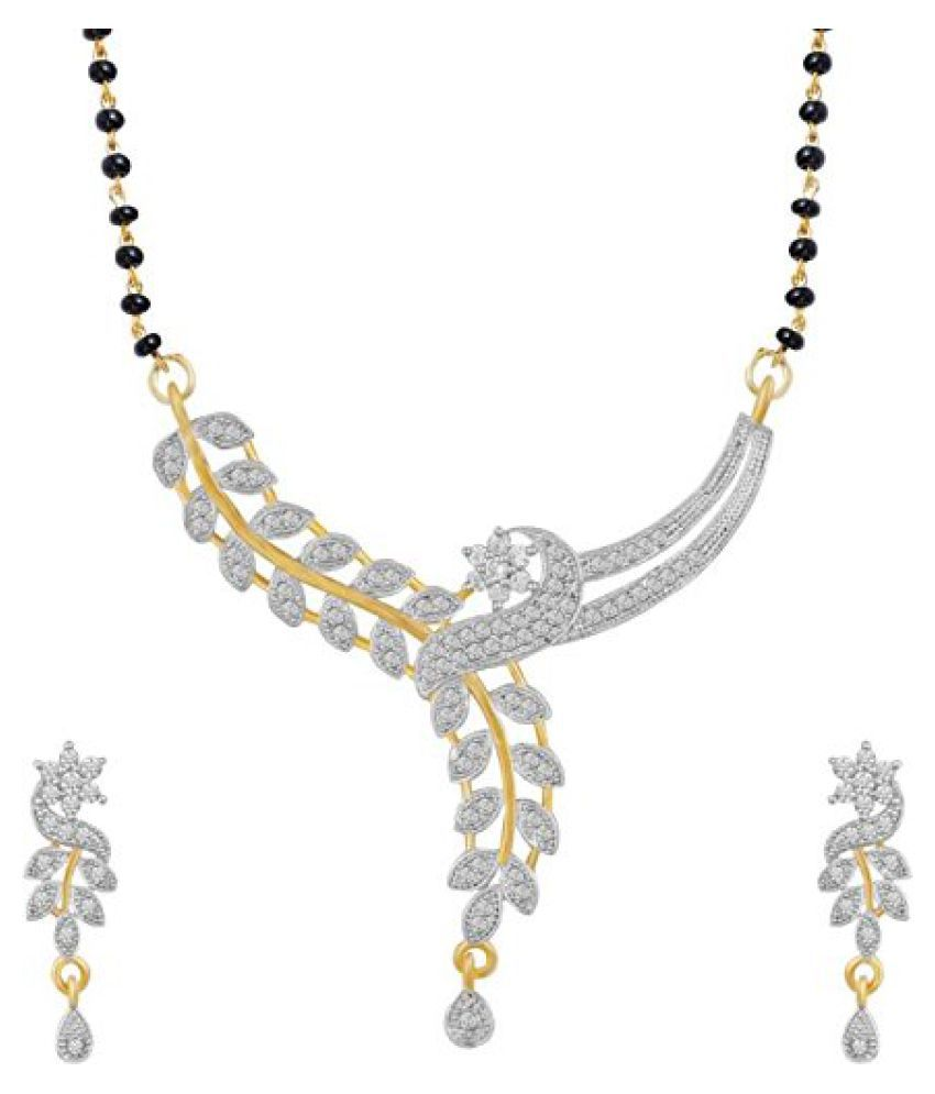 Jewels Royale Golden Alloy 1 Necklace and 2 Earings for Women (JR-N-1)