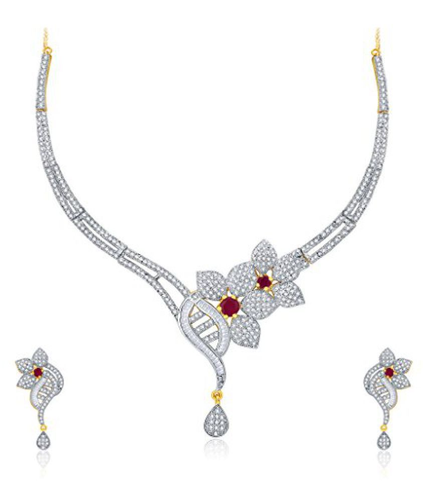 Sukkhi Fascinating Gold And Rhodium Plated Ruby CZ Neklace Set For Women