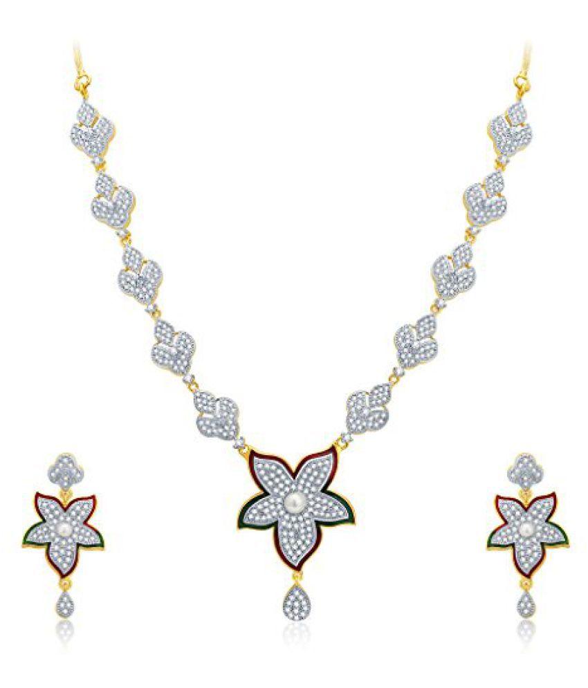 Sukkhi Feminine Gold And Rhodium Plated CZ Neklace Set For Women