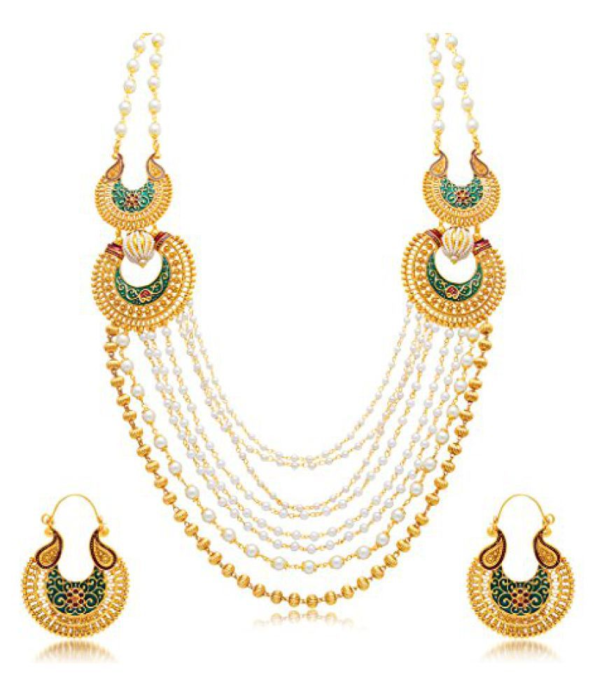 Sukkhi Finely 8 String Gold Plated Long Haram Necklace Set For Women