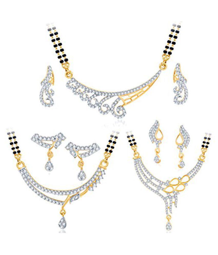 Sukkhi Marvellous Gold Plated CZ Set of 3 Mangalsutra Set Combo For Women
